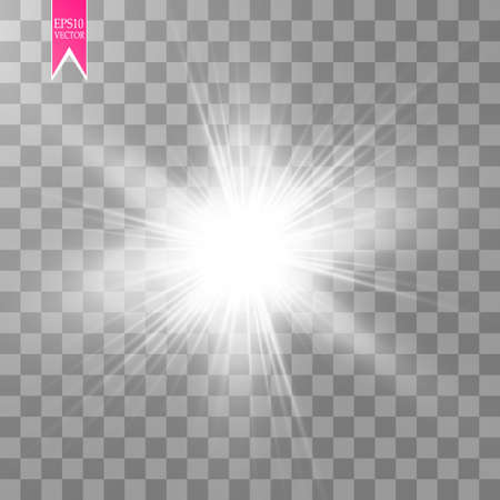 Effetto luce bagliore. Starburst con scintillii su sfondo trasparente. Illustrazione vettoriale