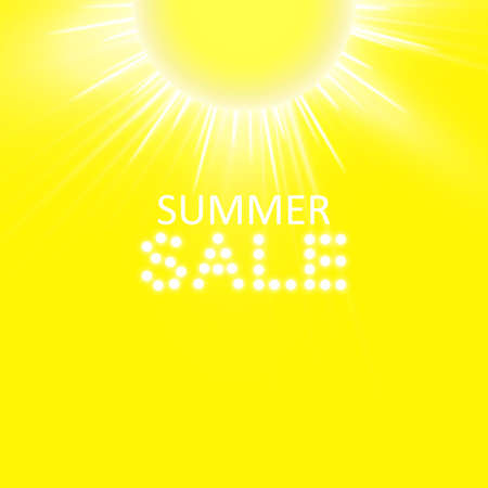 Super summer sale banner with sun on the yellow background. Business seasonal shopping concept, vector illustration.