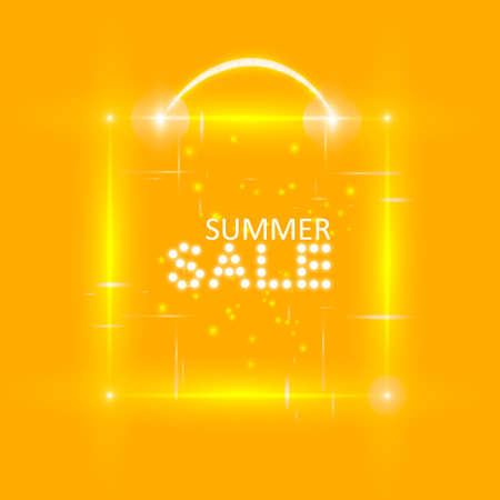 Super summer sale banner with magic box on the orange background. Business seasonal shopping concept, vector Illustration