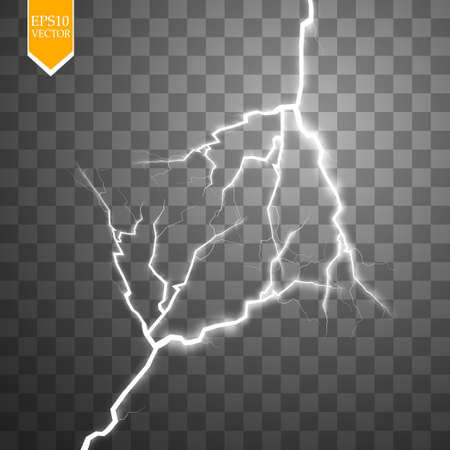 Vector electric lightning bolt. Energy effect. Bright light flare and sparks on transparent background.