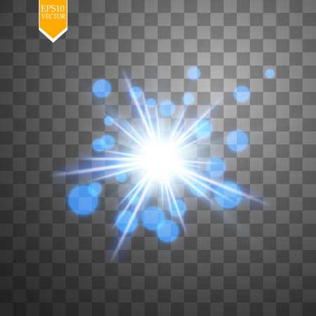 Light digital star on the transparent background
