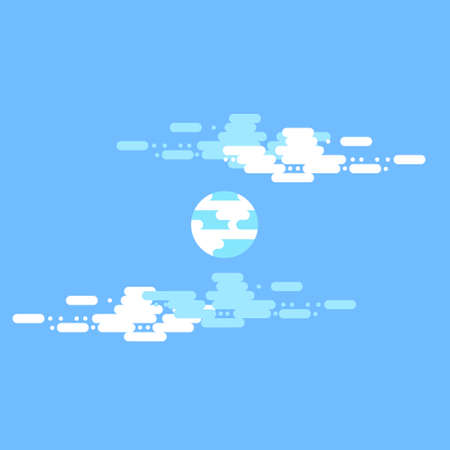 Day vector flat illustrations or banners. Sun. Half day sun with clouds. Flat illustration of sky and weather broadcasting, cloud and life, period and cycle for banners of mobile app backgrounds  イラスト・ベクター素材