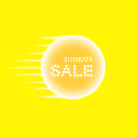 Summer sale and speed lines and glowing neon sign on the transparent background. Light vector background for your advertise, discounts and business