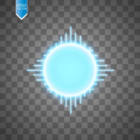 Blauer Energiering mit Geschwindigkeitsglühlinien auf transparentem Hintergrund.