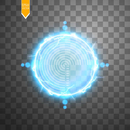 Neon Target with lightning isolated. Game Interface Element. Vector