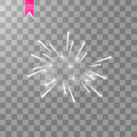 Firework lights effect with glowing stars in sky isolated on transparent background. Vector white festive party rocket burst or salute show for your design. Çizim