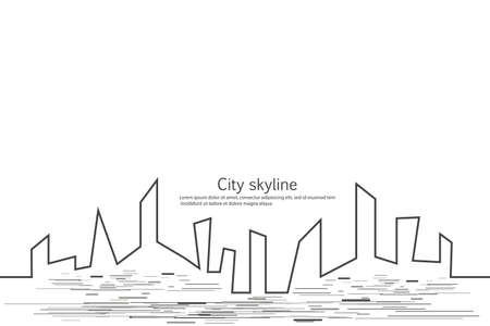 Silhouette of the city in a flat style. Modern urban landscape. Vector illustrations. City skyscrapers building office horizon.Continuous line drawing. Vector line. Geometric figures with the effect of motion