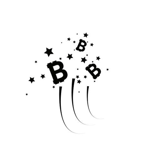 Bitcoin coin with fast speed firework. Abstract Falling bitcoin- Black Shooting bitcoin with Elegant Star Trail on White Background - Stars, Bitcoin, firework