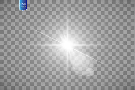 Lens flare effect isolated on transparent background. Golden glow flashlight illustration. Vector lights Çizim