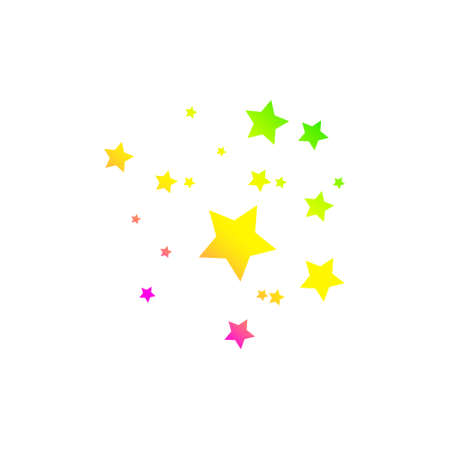 Colored Shooting Star with Elegant Star Trail on White Background Illustration