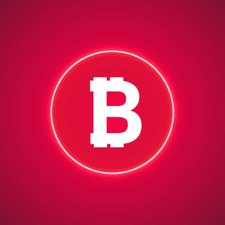 Abstract neon pink energy ring with bitcoin on a pink background. Ilustração