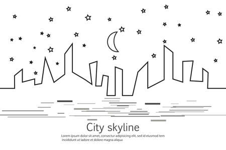 Silhouette of the city and star and moon in a flat style. Modern urban landscape. Vector illustrations. City skyscrapers building office horizon.Continuous line drawing. Vector line. Geometric figures with the effect of motion Banco de Imagens - 102480104