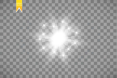 Glow light effect. Starburst with sparkles on transparent background. Vector illustration.