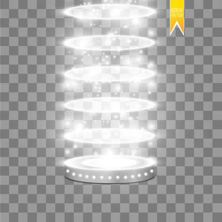 Vector floodlights. Scene. Light effects. Podium