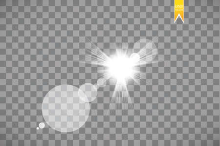 Lens flare effect isolated on transparent background. Glow flashlight illustration. Vector lights