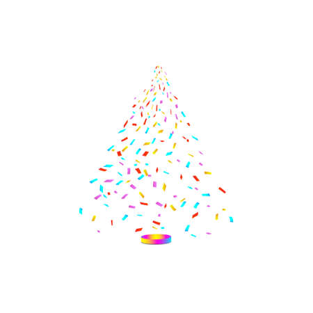 Christmas tree from confetti on white background. New Year, Christmas Vector illustration.