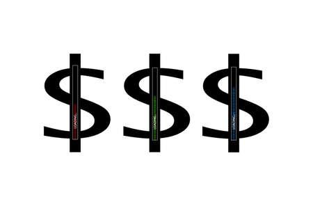 Flat design. Business concept. Vector illustration. Dollar progress loading bar with lighting. Flat design