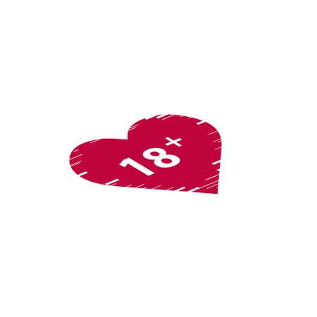 Illustrazione di un'icona del cuore di arte di linea isolata con il testo 18 plus