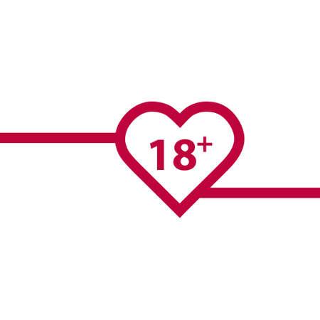 Illustrazione di un'icona del cuore di arte di linea isolata con il testo 18 plus.