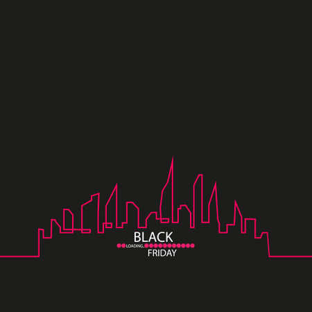 Black Friday in the City the Perfect Sale. White Ribbon Banner in Flat Style on a Black Background with an Abstract City Skyline with Loading Bar. Vector Illustration.
