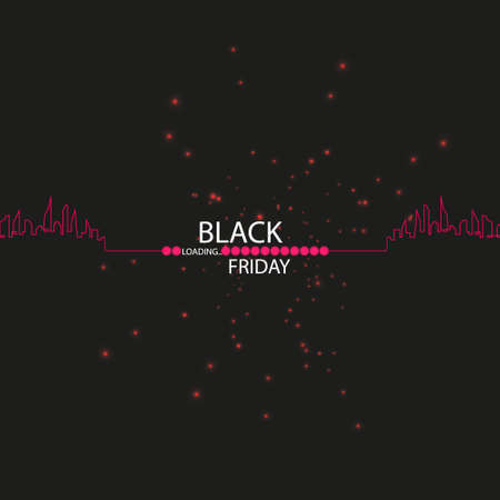 Black Friday. Great sale. Text and banner on the background of a large red flash with luminous dust. Cover for the project. Vector illustration. Progress loading bar.