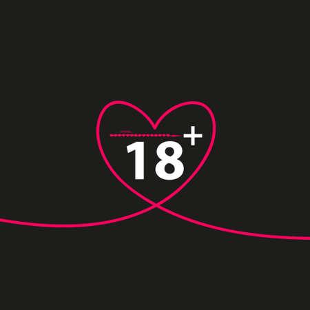 Ilustración vectorial de un icono de corazón de arte de línea aislada con el texto 18 plus Ilustración de vector
