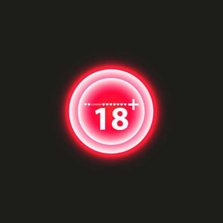 Timbre d'avertissement de 18 ans avec barre de chargement de progression avec éclairage