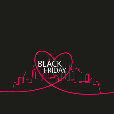 Black Friday in the City the Perfect Sale. White Ribbon Banner in Flat Style on a Black Background with an Abstract City Skyline and heart and text love. Vector Illustration