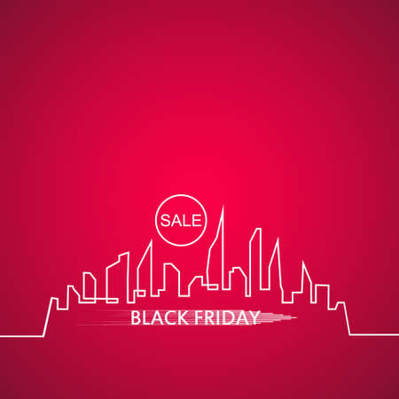Black Friday in the City the Perfect Sale. White Ribbon Banner in Flat Style on a pink Background with an Abstract City Skyline. Vector Illustration.