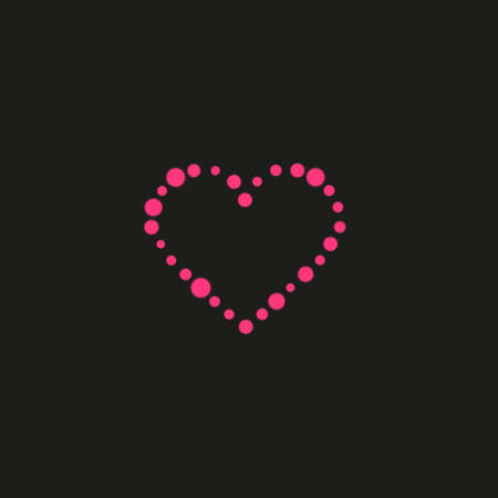 Heart of the lamps on a black background. Valentines day card. Heart with inscription I Love You. Vector illustration EPS 10.