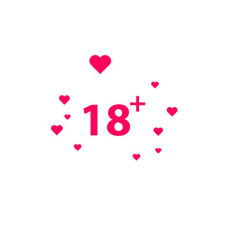 18 age warning stamp with hearts, Vector illustration. Flat design