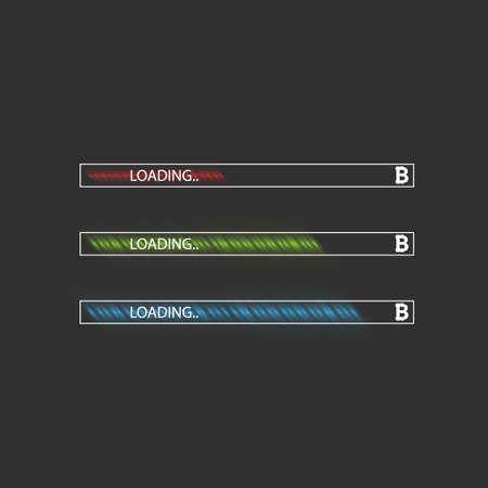 Flat design. Business concept. Vector illustration. Bitcoin progress loading bar with lighting. Flat design