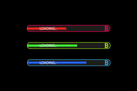 Flat design. Business concept. Vector illustration. Bitcoin progress loading bar with lighting. Flat design