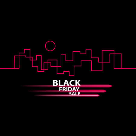 Black Friday in the City the Perfect Sale. White Ribbon Banner in Flat Style on a Black Background with an Abstract City Skyline. Vector Illustration.