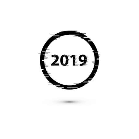 happy new year 2019 with fast speed motion lines and glitch frames set. Geometric shapes with distortion effect.Glow Design for Graphic Design. Vector Illustration.