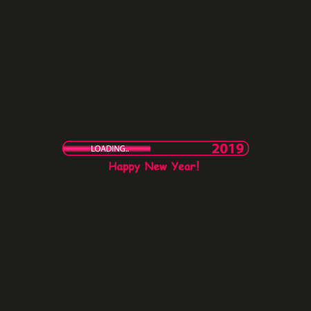 Happy new year 2019 with an Abstract City Skyline with Loading Bar. Vector. Illustration