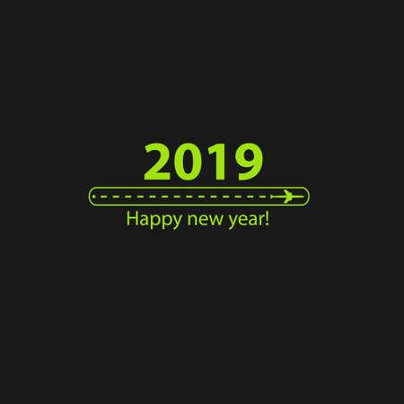 El diseño creativo de feliz año nuevo 2019 con barra de carga de progreso con avión está en una línea de puntos. El apartamento volador es negro. El punto de referencia es para un viaje turístico. Seguimiento sobre un fondo negro. Ilustración de vector. Turismo. Viaje.