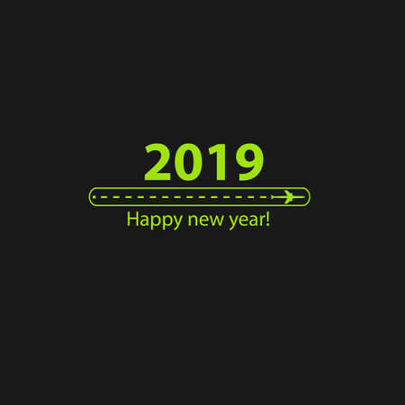 Creative happy new year 2019 design with Progress loading bar with airplane is in a dotted line. The flying apartment is black. The waypoint is for a tourist trip. Track on a black background. Vector illustration. Tourism. Travel.