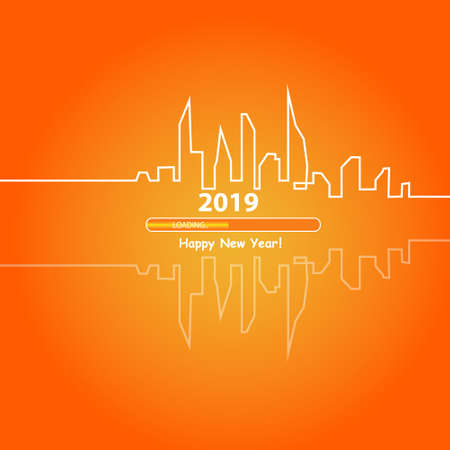 Frohes neues Jahr 2019 mit einer abstrakten Skyline der Stadt mit Ladestange. Vektor.