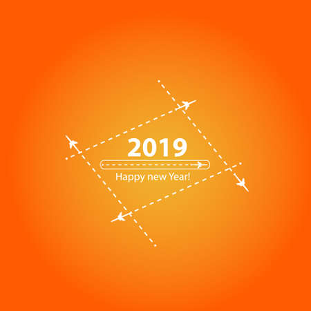Creative happy new year 2019 design with Progress loading bar with airplane is in a dotted line. The flying apartment is black. The waypoint is for a tourist trip. Track on a orange background. Vector illustration. Tourism. Travel