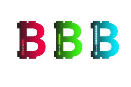 Business concept. Vector illustration. Bitcoin progress loading bar with lighting
