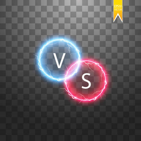 Hot and cold sparkling strength. Energy lightning with an electrical discharge isolated on a transparent background. Collision of two forces with red and blue light. Vector illustration. V S.