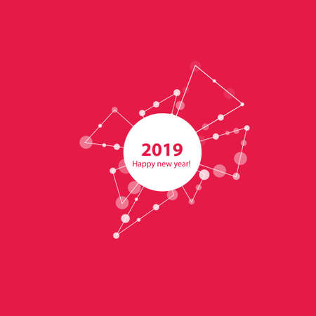 2019 New Year illustration made by points and lines, polygonal wireframe mesh on pink background. Vector. Çizim