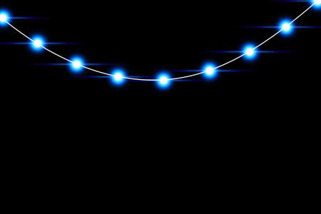 Set of blue garlands, festive decorations. Glowing christmas lights isolated on transparent background. Blue lights.