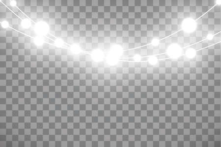 Christmas lights isolated on transparent background. Xmas glowing garland. Vector Çizim