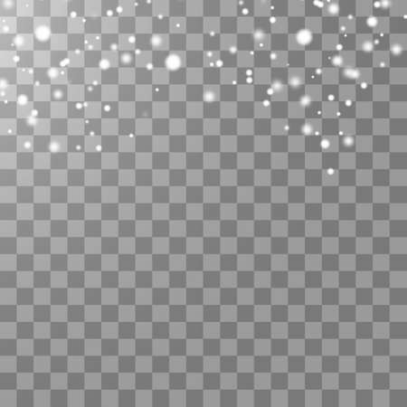 Vector falling snow effect isolated on transparent background with blurred bokeh. EPS 10. Ilustrace