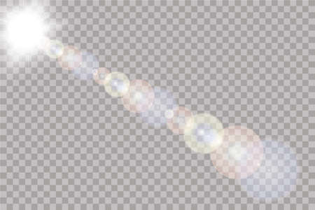 Vector transparent sunlight special lens flare light effect. Sun isolated on transparent background.