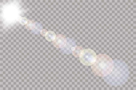 Vector transparent sunlight special lens flare light effect. Sun isolated on transparent background. Stok Fotoğraf - 127227704
