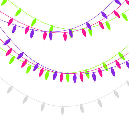 Christmas lights candle-shaped garland. Vector flat Xmas garland. Festive garlands set. Çizim
