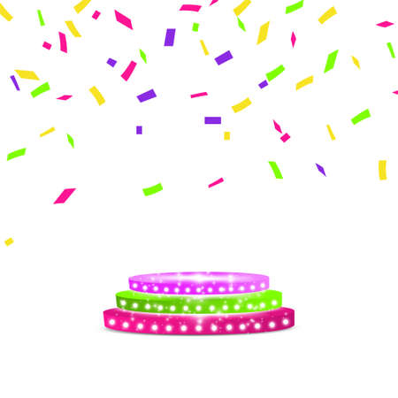 Abstract Shining multicolored Podium with confetti. Vector illustration. Light. Çizim
